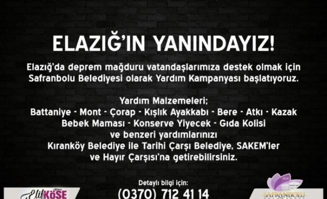Safranbolu Belediyesi Elazığ için yardım kampanyası başlattı