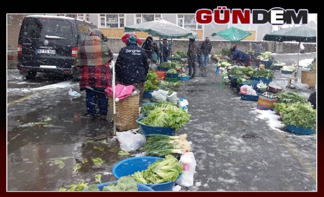 Kar yağışı pazarcı esnafını üzdü!