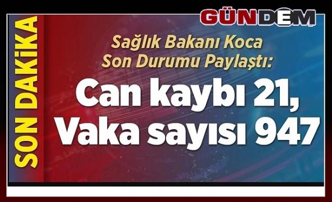 Türkiye'de koronavirüsten can kaybı 21'e yükseldi