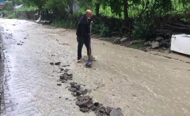 Metrekareye 30 kilogram yağışın düştüğü ilçede bahçeler sular altında kaldı