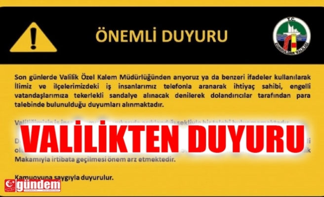 ZONGULDAK VALİLİĞİNDEN ÖNEMLİ DUYURU!