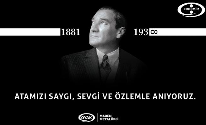 ERDEMİR, ATATÜRK'Ü ÖLÜM YIL DÖNÜMÜNDE ANDI