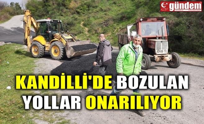 KANDİLLİ'DE BOZULAN YOLLAR ONARILIYOR