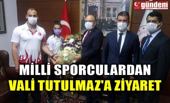 MİLLİ SPORCULARDAN VALİ TUTULMAZ'A ZİYARET