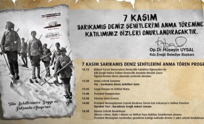 Sarıkamış Deniz Şehitleri, Kdz.Ereğli'de anılacak..