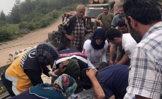 Tomruk Yüklü Traktör Devrildi: 1 Kişi Ağır Yaralandı.