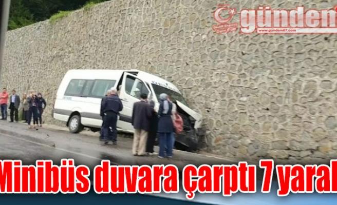 Minibüs duvara çarptı 7 yaralı