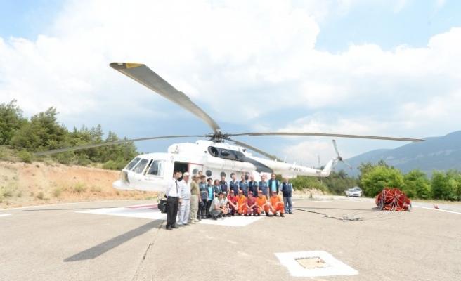 Karabük'te helikopter destekli yangın tatbikatı