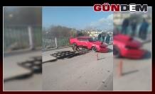 Otomobilin Filyos Çayı'na uçmasını bariyer engelledi!..