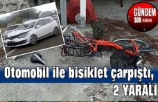 Otomobil ile bisiklet çarpıştı, 2 yaralı