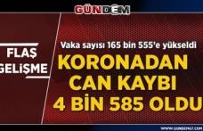 Türkiye'de koronavirüsten can kaybı 4 bin 585'e yükseldi...