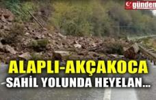 ALAPLI-AKÇAKOCA SAHİL YOLUNDA HEYELAN...