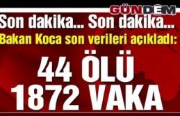 Türkiye'de ölü sayısı 44'e, vaka sayısı...