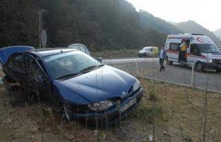Aracın sıkıştırması sebebiyle refüje çıktı:...