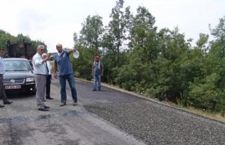 Kaymakam Madenoğlu asfalt çalışmalarını inceledi
