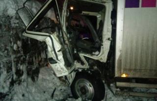 Buzlanan yolda kaza: 2 yaralı