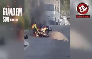 Motosiklet Alev Alev Yandı!..