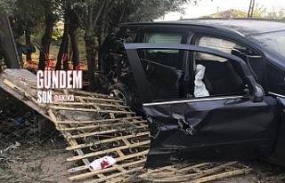 Otomobil evin duvarına çarptı: 3 yaralı