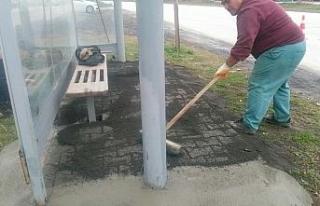 Duraklarda zemin iyileştirmesi yapıldı