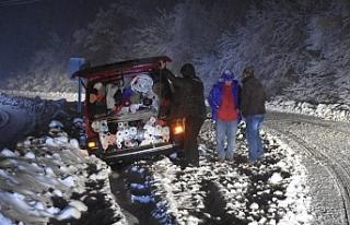 Ereğli yolu kardan kapandı