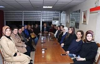 Başkan Özlü Hanımlar lokalinde kadınlarla bir...