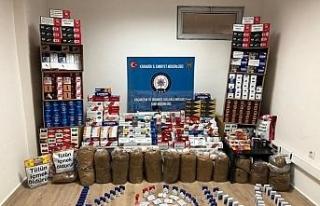 Safranbolu'da kaçak tütün satışı yapan iş...