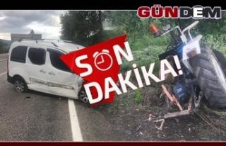 Zonguldak'ta otomobil traktöre çarptı!..