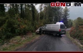 Minibüs ile otomobil çarpıştı : 1 yaralı