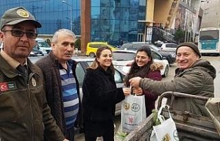 Karabük'te yılbaşı için 1000 adet fidan dağıtıldı
