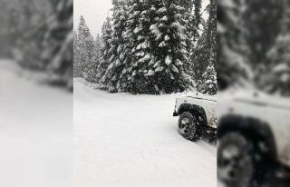 Karabük'ün yüksek kesimlerine mevsimin ilk karı...