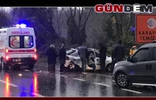 Kaygan zeminde kaza: 2 yaralı
