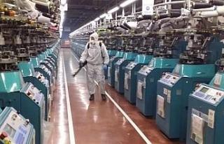 Korona virüsüne karşı fabrika dezenfekte edildi
