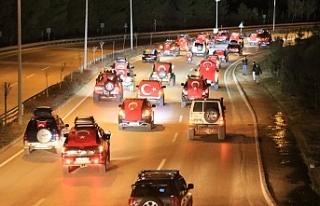 Şehitler için 500 araçlık konvoy...