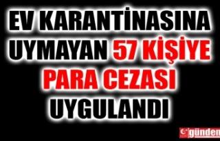 EV KARANTİNASINA UYMAYAN 57 KİŞİYE PARA CEZASI...