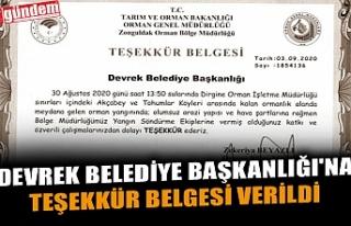 DEVREK BELEDİYE BAŞKANLIĞI'NA TEŞEKKÜR BELGESİ...