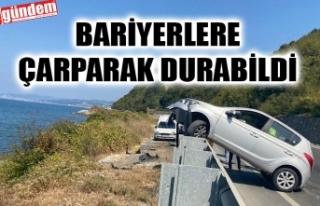 PARK HALİNDEKİ KAMYONETE ÇARPTI, BARİYERLERE ÇIKARAK...