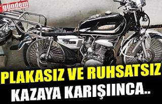 PLAKASIZ VE RUHSATSIZ MOTOSİKLETLİ ÇOCUK KAZA YAPTI,...