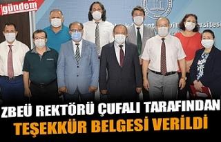 ZBEÜ REKTÖRÜ ÇUFALI TARAFINDAN TEŞEKKÜR BELGESİ...