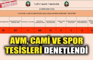 AVM, CAMİ VE SPOR TESİSLERİ DENETLENDİ