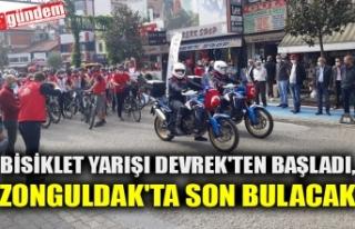 BİSİKLET YARIŞI DEVREK'TEN BAŞLADI, ZONGULDAK'TA...