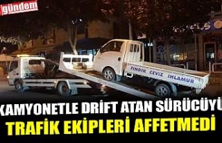 KAMYONETLE DRİFT ATAN SÜRÜCÜYÜ TRAFİK EKİPLERİ...
