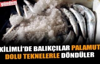 KİLİMLİ'DE BALIKÇILAR PALAMUT DOLU TEKNELERLE...