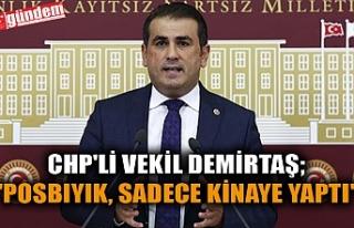"""CHP'Lİ VEKİL DEMİRTAŞ; """"POSBIYIK, SADECE..."""