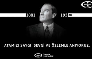 ERDEMİR, ATATÜRK'Ü ÖLÜM YIL DÖNÜMÜNDE...