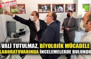 VALİ TUTULMAZ, BİYOLOJİK MÜCADELE LABORATUVARINDA...