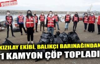 KIZILAY EKİBİ, BALIKÇI BARINAĞINDAN 1 KAMYON ÇÖP...