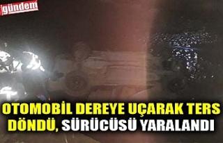 OTOMOBİL DEREYE UÇARAK TERS DÖNDÜ, SÜRÜCÜSÜ...