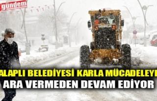 ALAPLI BELEDİYESİ KARLA MÜCADELEYE ARA VERMEDEN...