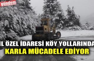 İL ÖZEL İDARESİ KÖY YOLLARINDA KARLA MÜCADELE...