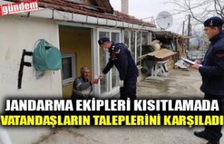JANDARMA EKİPLERİ KISITLAMADA VATANDAŞLARIN TALEPLERİNİ...
